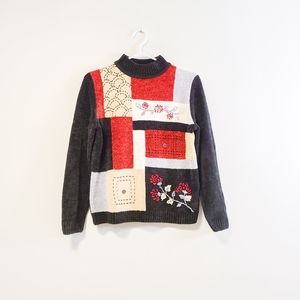 ALFRED DUNNER Vintage Embroidered Sweater Petite